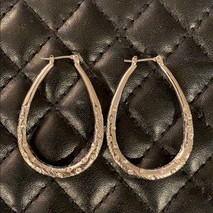 Anthropology Silver Paved Crystal Hoop Earrings